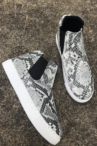 No Lace Slip On Snake Sneaker