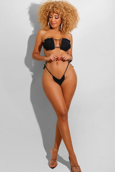 Two Piece Adjustable Tie Black Bikini Set