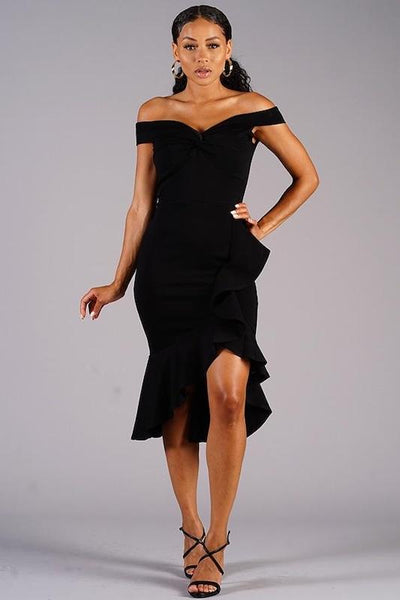 Off Shoulder Asymmetric Dress