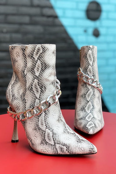 Thin Heel Snake Bootie with Thick Chain