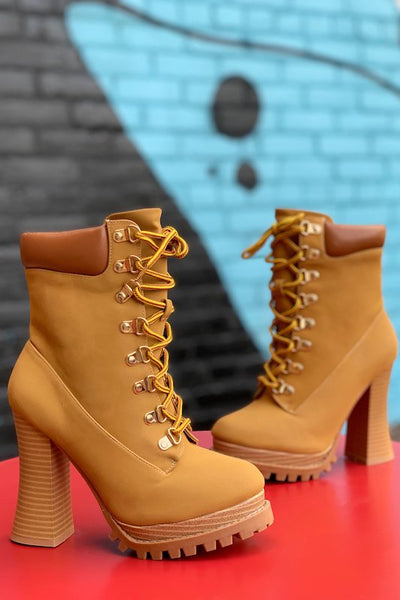 Chunky Heel High Block Ankle Boots