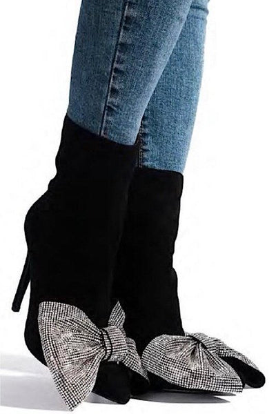 Thin Heel Bootie with Rhinestone Bow