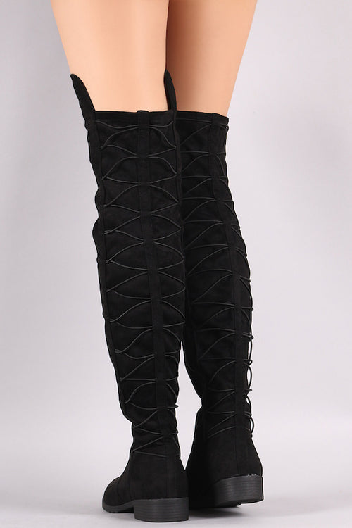 Lace Up Back Thigh High Boot
