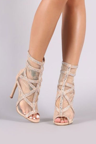 Strappy Mesh Rhinestone Stiletto