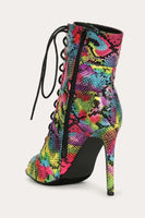 Open Toe Lace Up Snake Multi Bootie