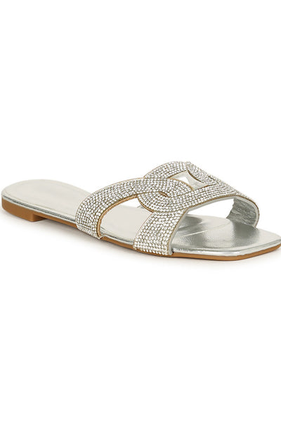Rhinestone Embellished Intertwined Slide Sandal