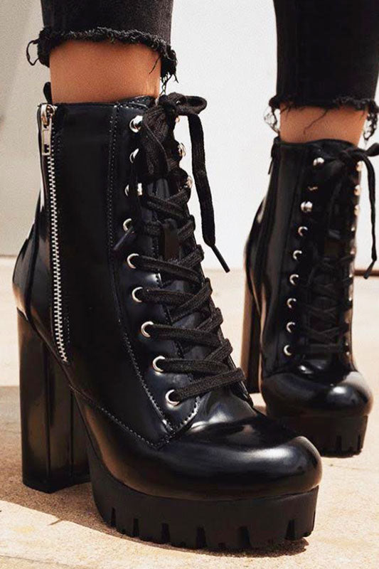 Black Lace Up Ankle Bootie