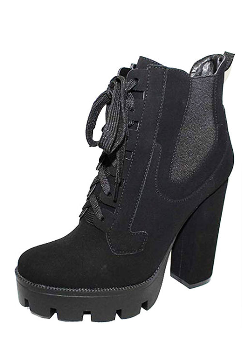 Lace Up Chunky Heel Boot