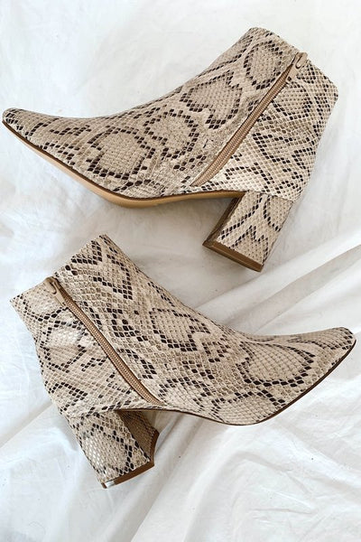 Short Snake Bootie with Block Heel