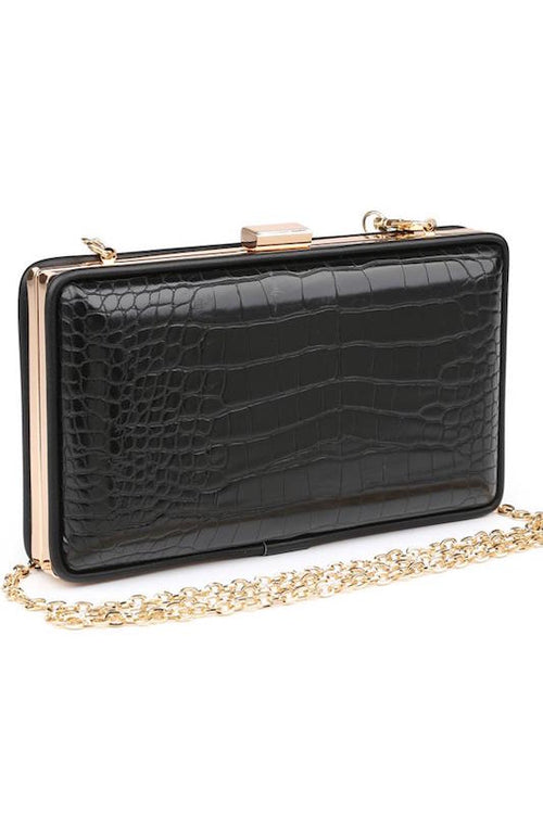 Crocodile Box Clutch