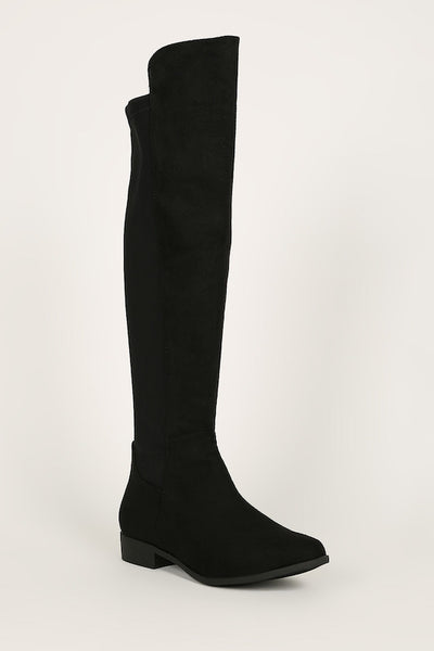 Micro Suede Riding Boot with Elastic Back