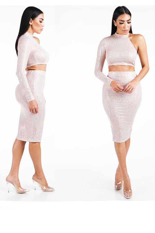 One Shoulder Glitter Top & Midi Skirt Set