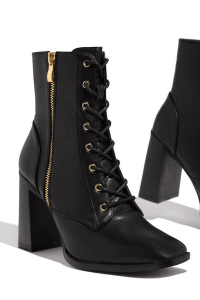 Chunk Heel Lace Up Side Zip PU Bootie