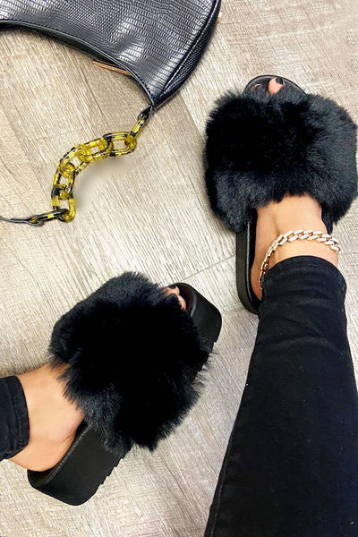 Faux Fur Fluffy Platform Slide Sandal