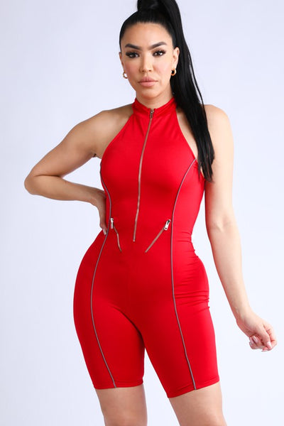 Halter Zipper Romper with Reflective Detail