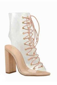 Lace up Lucite Bootie