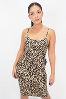 Spaghetti Strap Bodycon Leopard Midi Dress