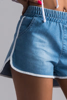 High Rise Elastic Dolphin Track Shorts