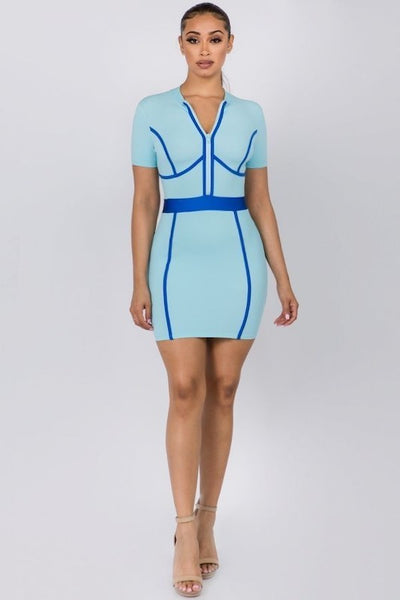 Mini Dress with Piping & Front Zipper