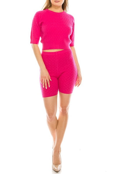Crew Neck Half Sleeve Sweatshirt & Shorts Set