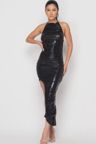 Back Out Ruched Metallic Dress