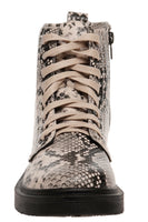 Lace Up Crocodile Print Bootie with Zipper