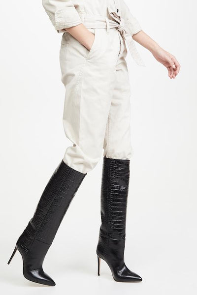 Crocodile Over The Knee Boot with Heel