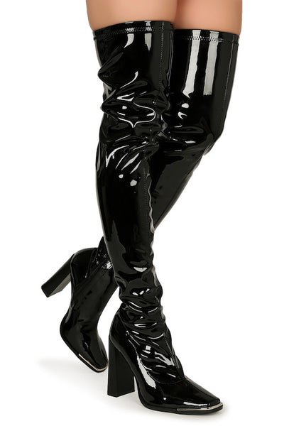 Thigh High Tall Thick Heel Metal Tip Boots