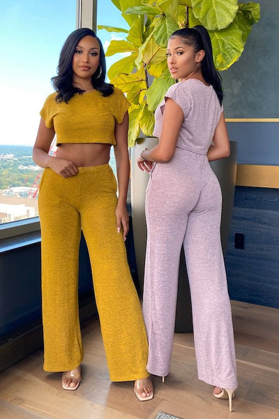 Short Sleeve Crop Top and Wide Leg Pant Set