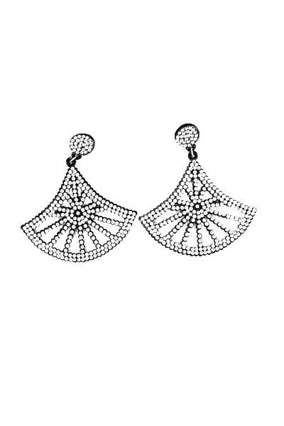 Rhinestone Fan Shape Earring
