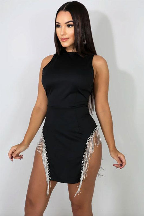 Rhinestone Fringe Slit Dress