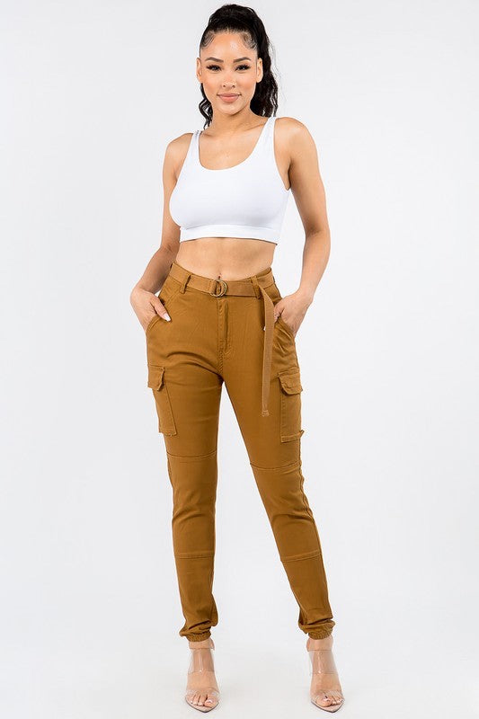 Plus Size Belted Cargo Pants