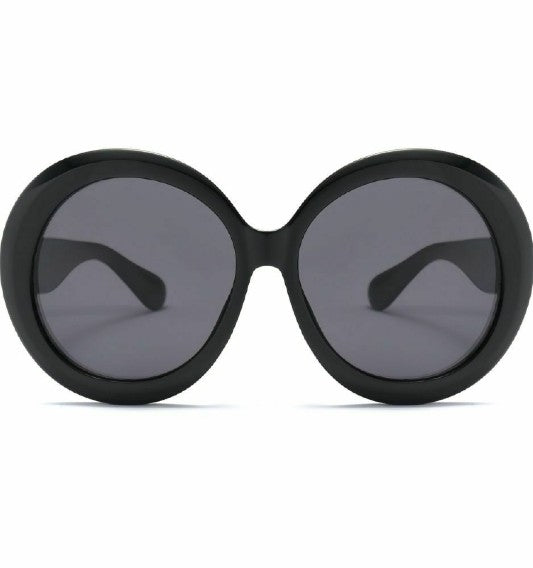 Black Oversized Round Frame Sunglasses