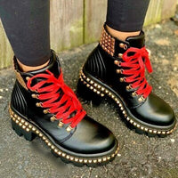 Lace Up Studded Combat Boot