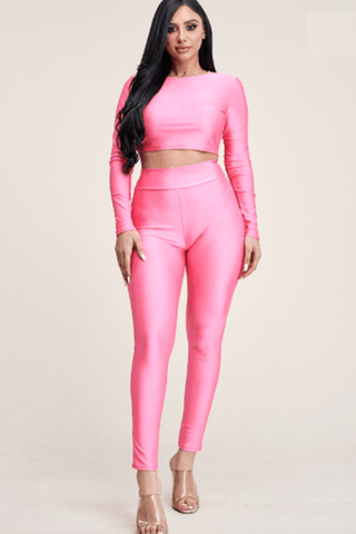 Satin Long Sleeve Crop Top & High Rise Leggings Set