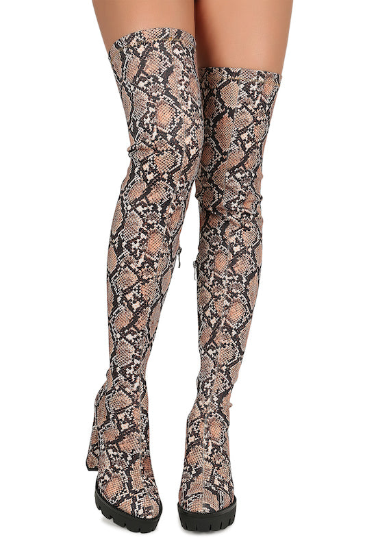 Thigh High Platform Thick Heel Boot