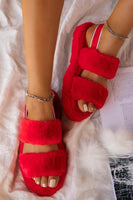 Furry Two Strap Sandal
