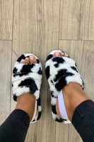 Furry Slingback Sandal with Rhinestones