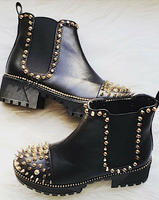 Chunky Heel Bootie with Spikes