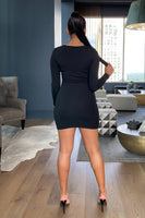 Deep V Neck Long Sleeve Dress