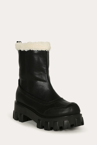 Platform Lug Bootie with Fur Lining