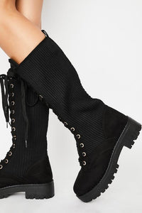 Sweater Detail Combat Boot