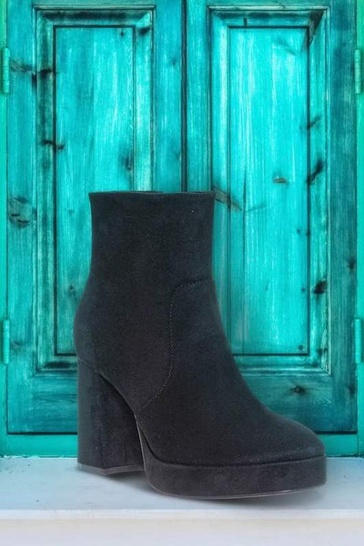 Thick Heel Platform Rounded Toe Bootie