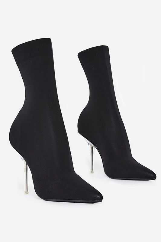 Ankle Sock Bootie with Lucite Heel