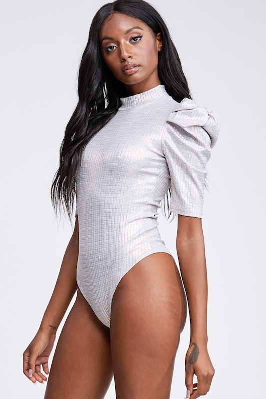 Glittered Rib Puff Sleeve Bodysuit