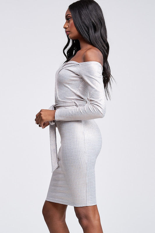 Metallic Ribbed Off Shoulder Dress