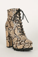 Lace Up Chunky Heel Snake Bootie