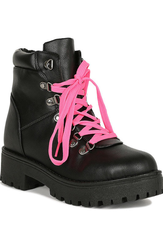 Lace Up Lug Chunky Combat Booties