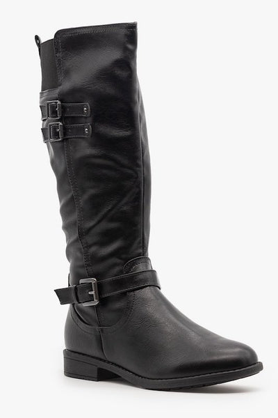 Knee High Riding Boot with Buckles