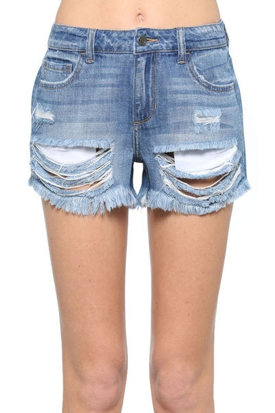 Mid Rise Destroyed Denim Shorts